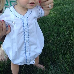 Smocked baseball onesie